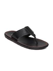 Franco Leone Men Black Leather Sandals