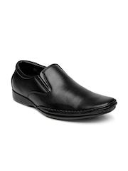 Franco Leone Men Black Leather Semiformal Shoes