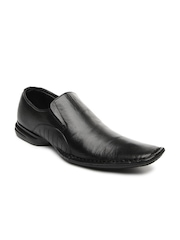 Franco Leone Men Black Leather Semiformal Shoes