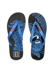 Franco Leone Men Black & Blue Flip Flops