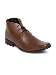Franco Leone Men Brown Leather Semi-Formal Shoes