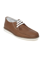 Franco Leone Men Tan Brown Leather Casual Shoes