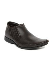 Franco Leone Men Dark Brown Leather Semiformal Shoes