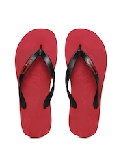 Men Black & Red Flip Flops Franco Leone