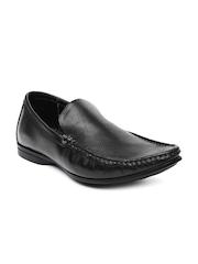 Franco Leone Men Black Leather Semi-Formal Shoes