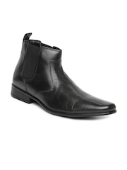 Franco Leone Men Black Leather Semi-Formal Shoes