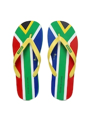 Franco Leone Men Yellow & Multi-Coloured Flip Flops