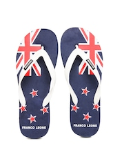 Franco Leone Men Navy & White Flip Flops