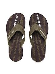 Franco Leone Men Olive Green & Maroon Flip Flops