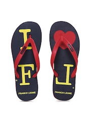 Franco Leone Men Red & Navy Flip Flops