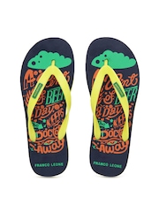 Franco Leone Men Yellow & Navy Flip Flops
