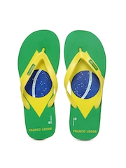 Franco Leone Men Yellow And Green Flip Flops