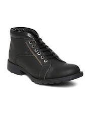Franco Leone Road Wire Men Black Leather Casual Shoes