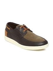 Franco Leone Road Wire Men Dark Brown Leather Boat Shoes