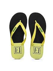 Franco Leone Men Yellow & Black Flip Flops