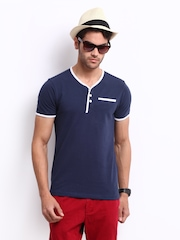 FREECULTR Men Navy Slim Fit Henley T-shirt