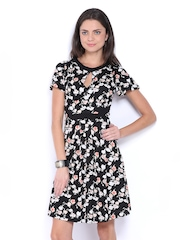 French Connection Black Floral Print Fit & Flare Dress