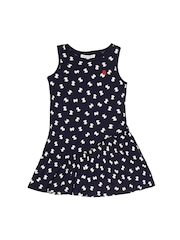 French Connection Girls Navy & Off-White Printed Dress
