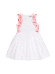 French Connection Girls White Embroidered Fit & Flare Dress