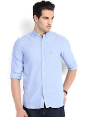 French Connection Men Blue Slim Fit Casual Shirt