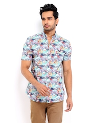 French Connection Men Green & Purple Printed Slim Fit Casual Shirt