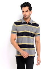 French Connection Men Grey & Navy Striped Polo T-shirt