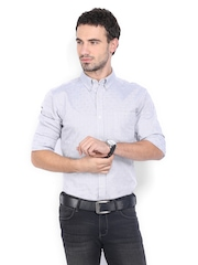 French Connection Men Grey Printed Slim-Fit Casual Shirt