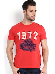 French Connection Men Red Printed T-shirt