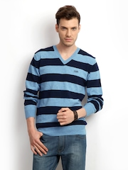 French Connection Men Blue Striped Sweater