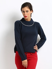 French Connection Women Navy Sweater