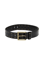 Fume Unisex Black Leather Belt