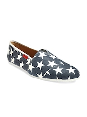 Funk Men Blue & White Printed Casual Shoes