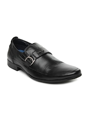 GAS Men Black Cardio Leather Semi-Formal Shoes