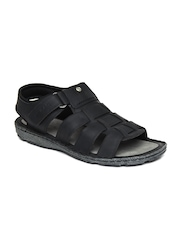 GAS Men Black Leather Clash Sandals