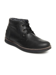 GAS Men Black Leather Porto Casual Shoes