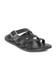 GAS Men Black Leather Sandals