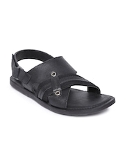 GAS Men Black Leather Sandals