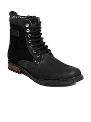 GAS Men Black Leather Snug Boots