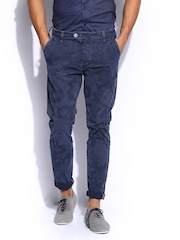 GAS Men Blue & Grey Printed Straight Fit Noley Chino Trousers