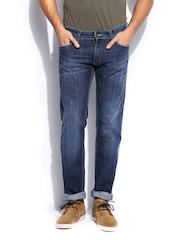 GAS Men Blue Straight Fit Morrison Zip Jeans
