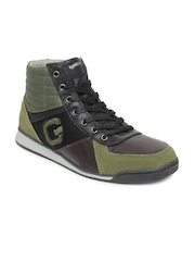 GAS Men Brown & Olive Green Leather Casual Shoes