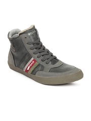 GAS Men Grey Leather Casual Shoes