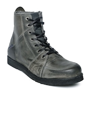 GAS Men Charcoal Grey Cyclops Leather Boots
