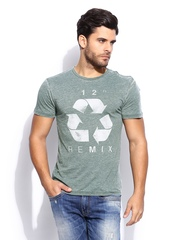 GAS Men Grey Printed Scuba T-shirt