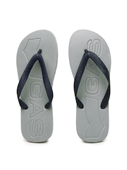 GAS Men Navy Blue & Grey Flip Flops