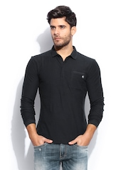 GAS Men Navy Slim Fit Polo T-shirt