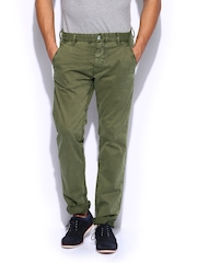 GAS Men Olive Green Straight Fit Noal Chino Trousers