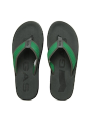 GAS Men Grey & Green Flip Flops
