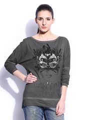 GAS Women Grey Melange Printed T-shirt