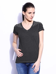 GAS Women Charcoal Grey Melange T-shirt